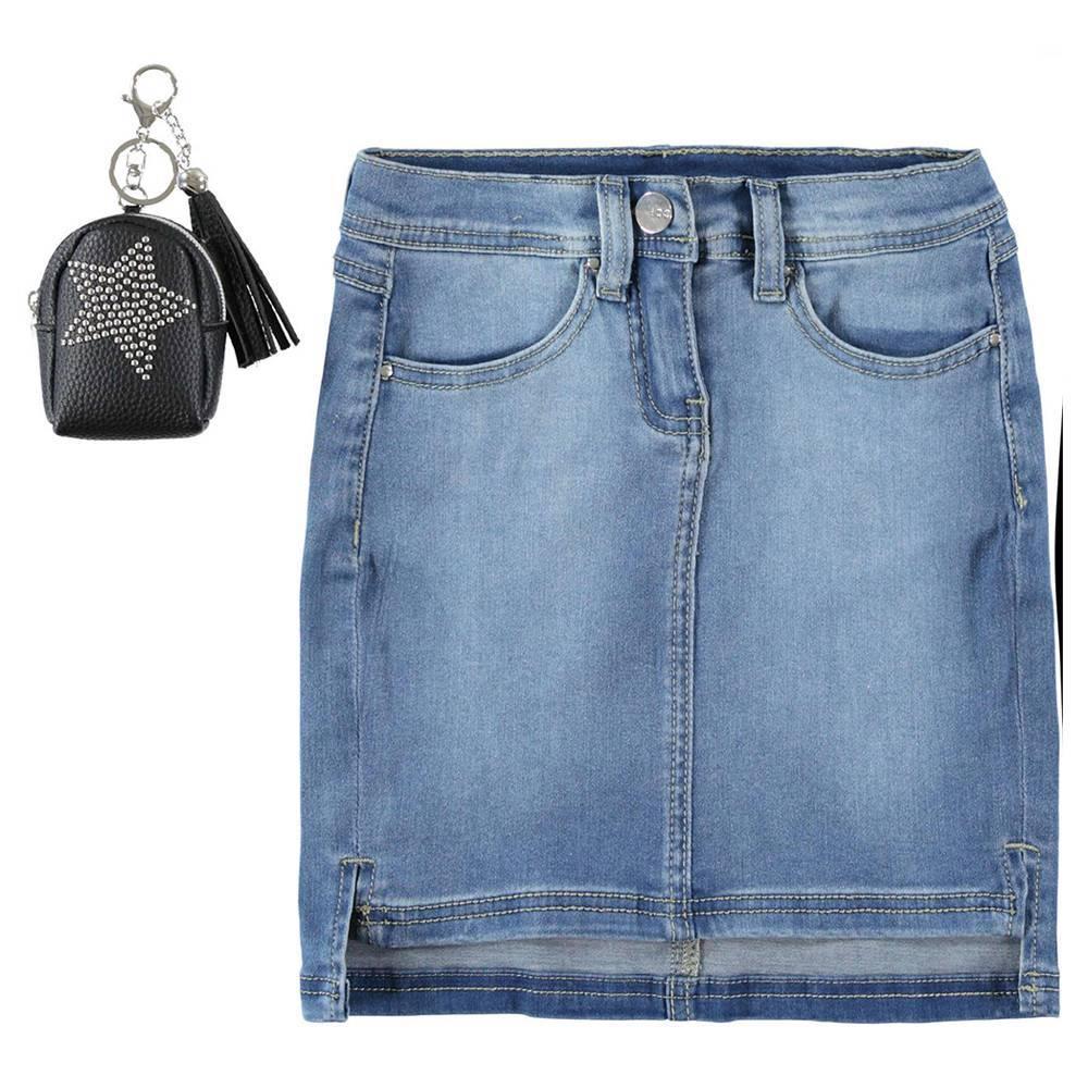 Юбка для девочки iDO джинсовая зауженная с потертостями 4.W542.00/7350