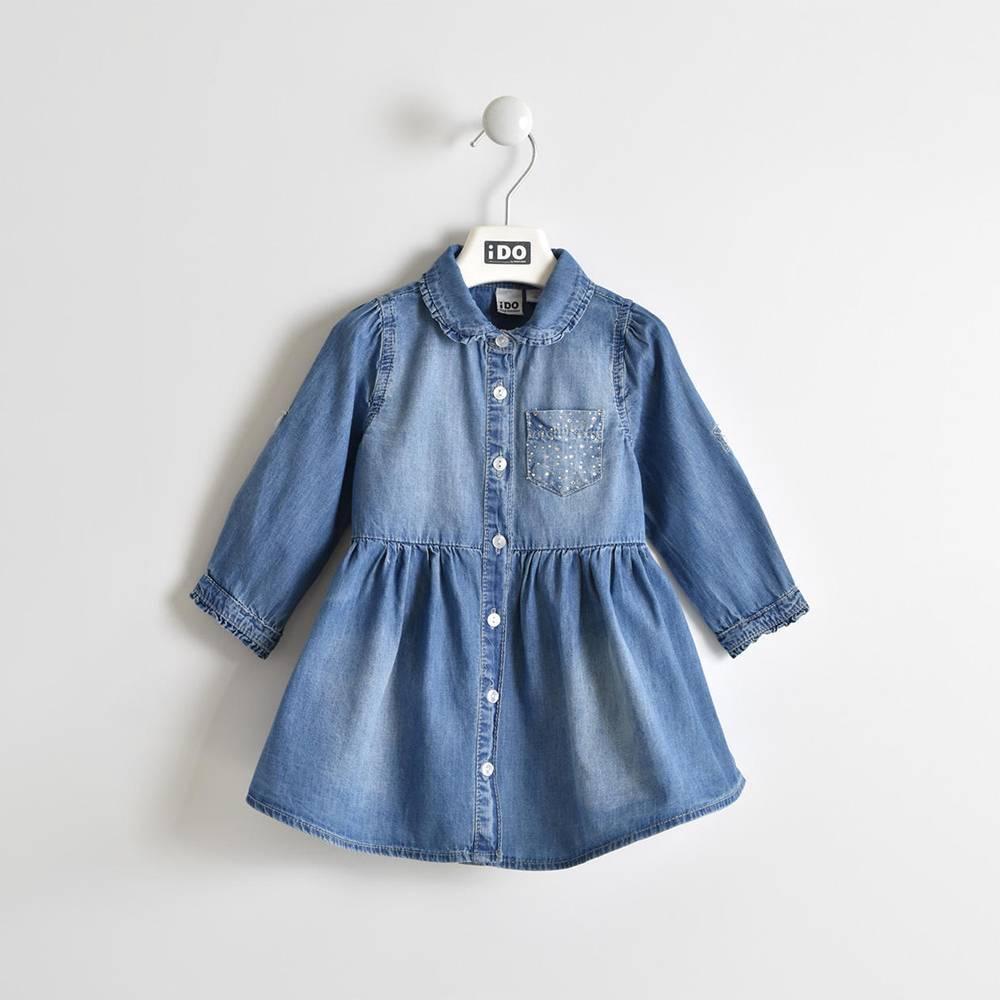 Платье для девочки iDO джинсовое короткий рукав 4.W301.00/7350