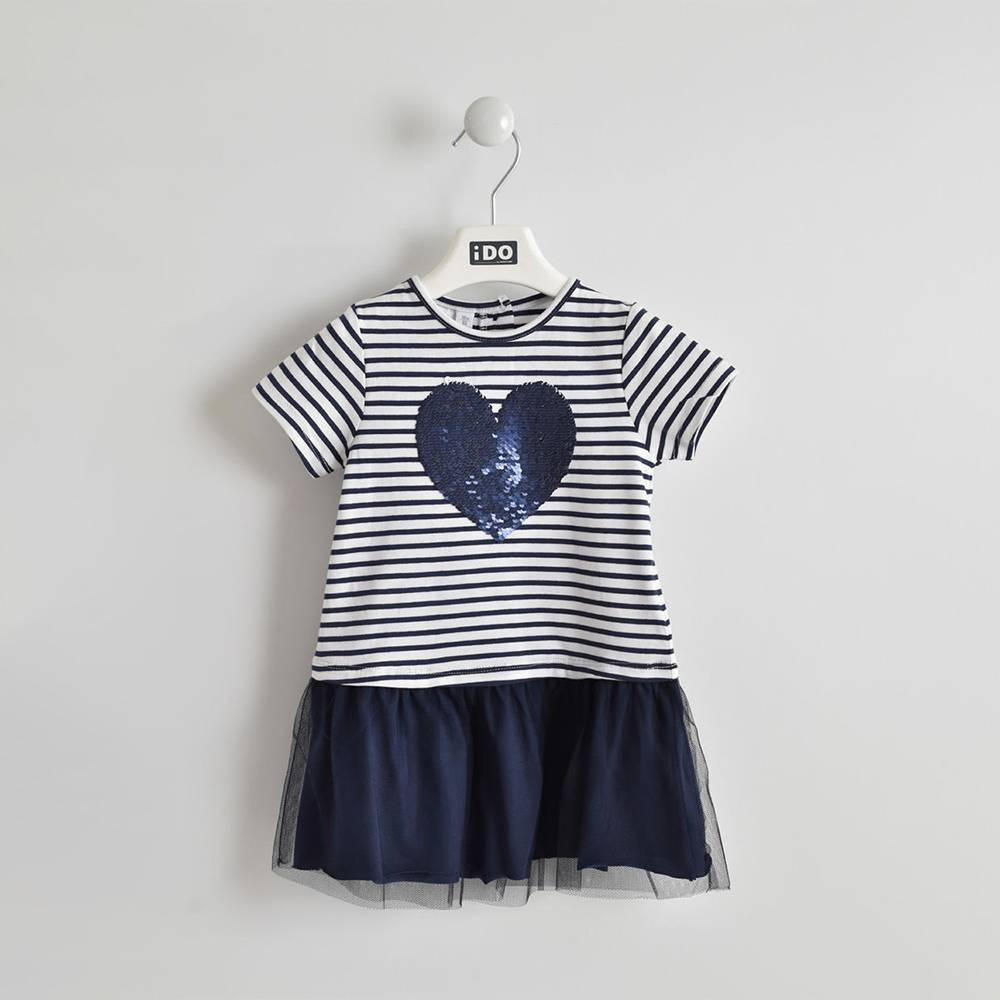 Платье для девочки iDO трикотажное хлопковое летнее с блестками 4.W303.00/3854