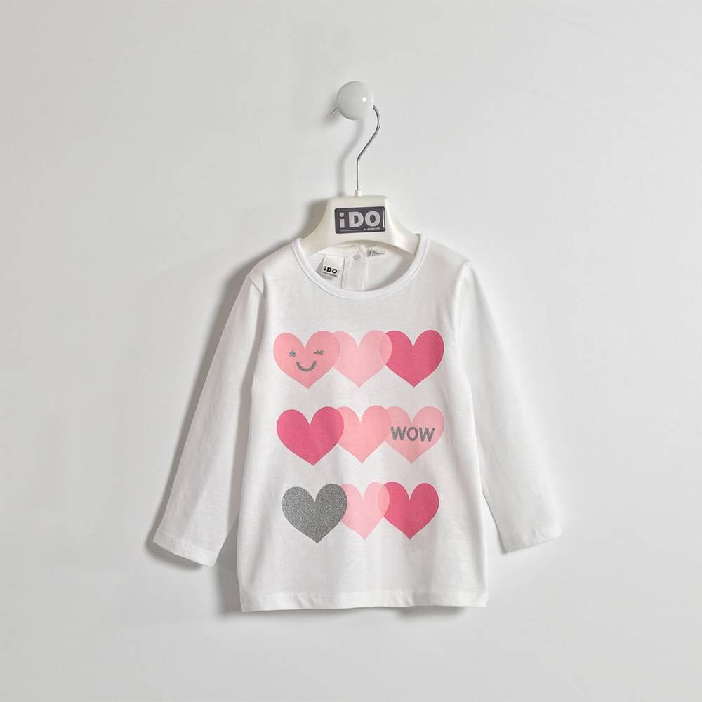 Реглан для девочки iDO хлопок трикотаж блестки в виде сердечек 4.W339.00/0113