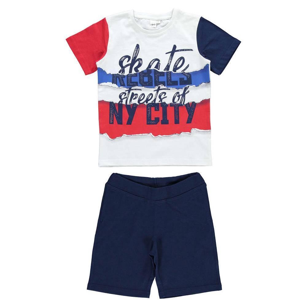 Комплект для мальчика iDO спортивный летний футболка шорты принт 4.W853.00/8020