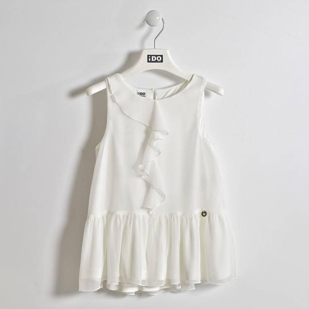 Блуза для девочки iDO подросток летняя без рукава нарядная с оборкой 4.W490.00/0112