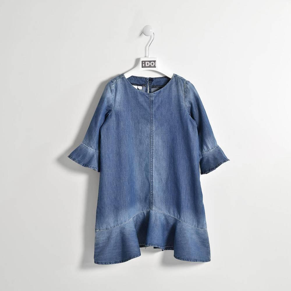 Платье для девочки iDO подросток джинсовое рукав 3/4 волан 4.W556.00/7450