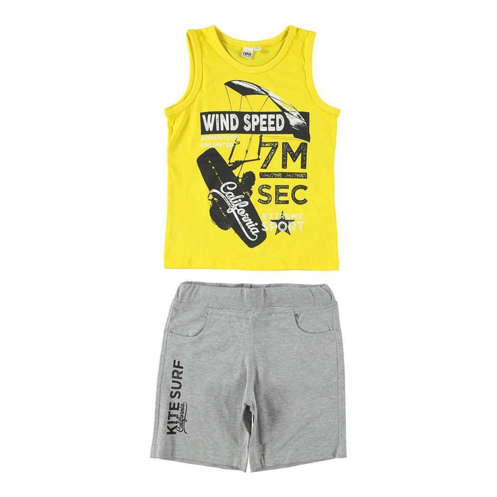Комплект для мальчика iDO летний спортивный трикотаж хлопок майка шорты принт 4.W017.00/8084