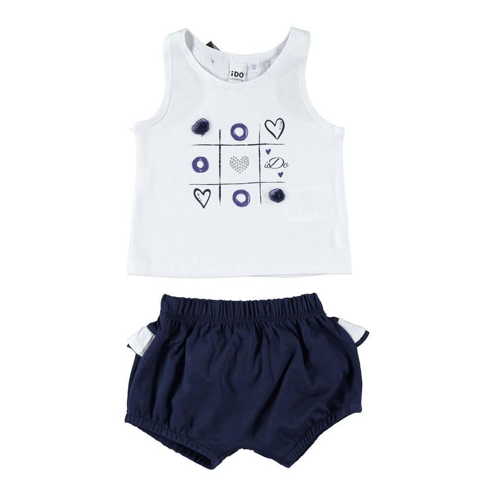 Комплект для девочки iDO летний хлопок трикотаж майка с органзой шорты 4.W644.00/8020