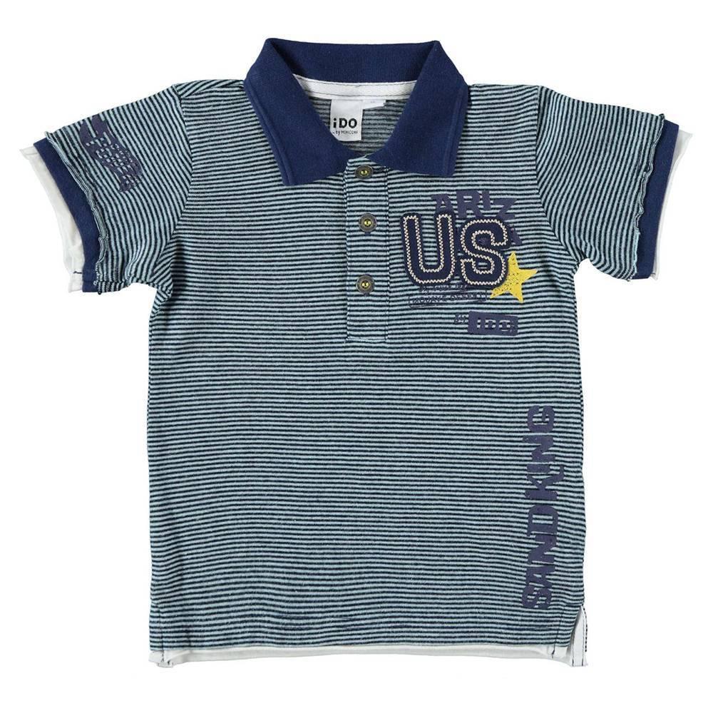 Поло футболка для мальчика iDO трикотаж хлопок синий меланж 4.W686.00/3547
