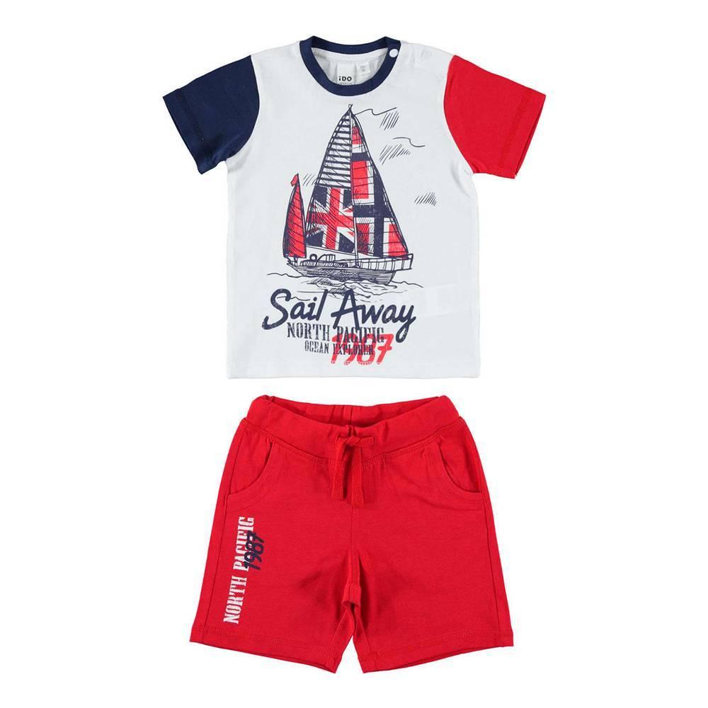 Комплект для мальчика iDO спортивный летний трикотаж хлопок футболка шорты 4.W734.00/8025