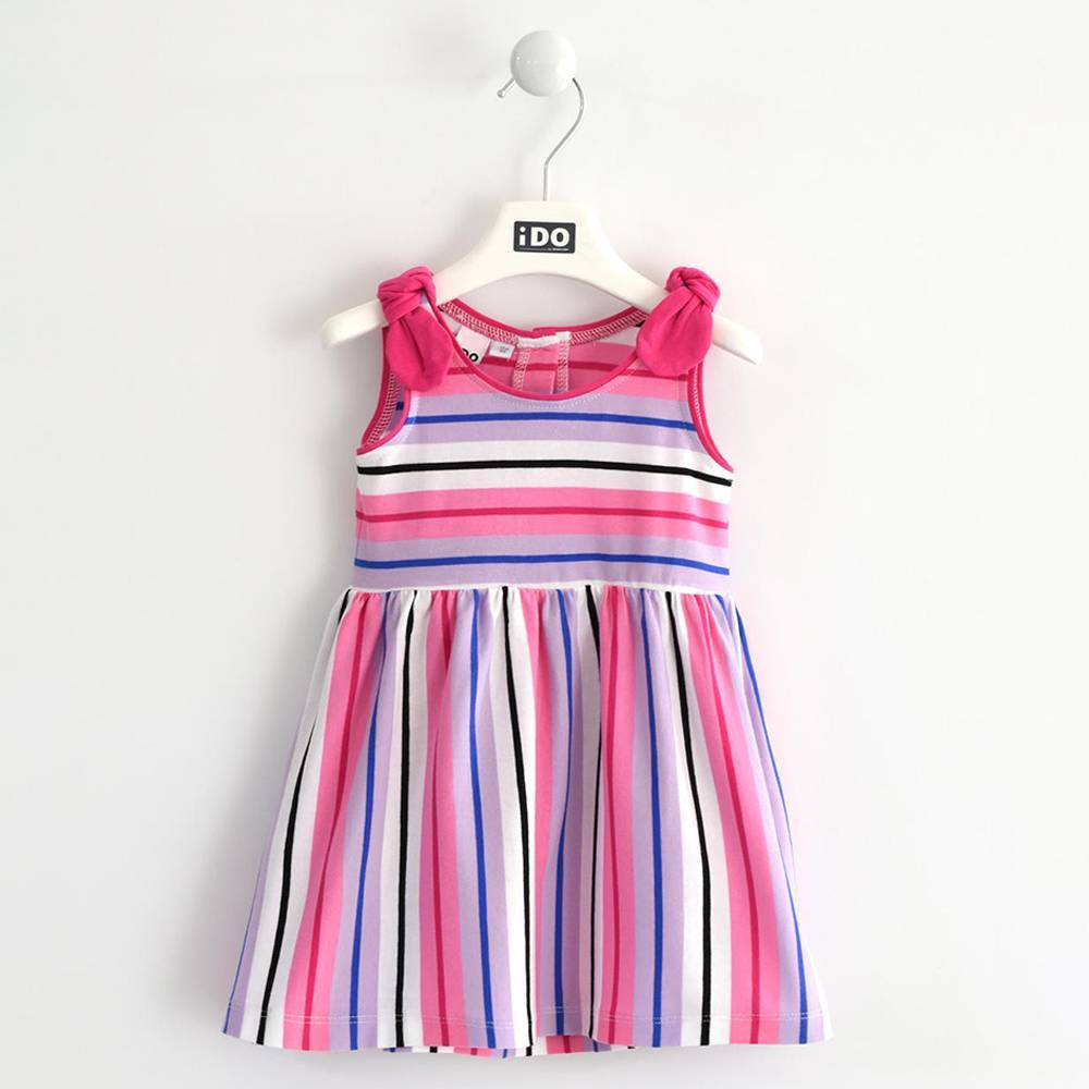 Платье для девочки iDO хлопок трикотаж полосатое 4.W757.00/2421