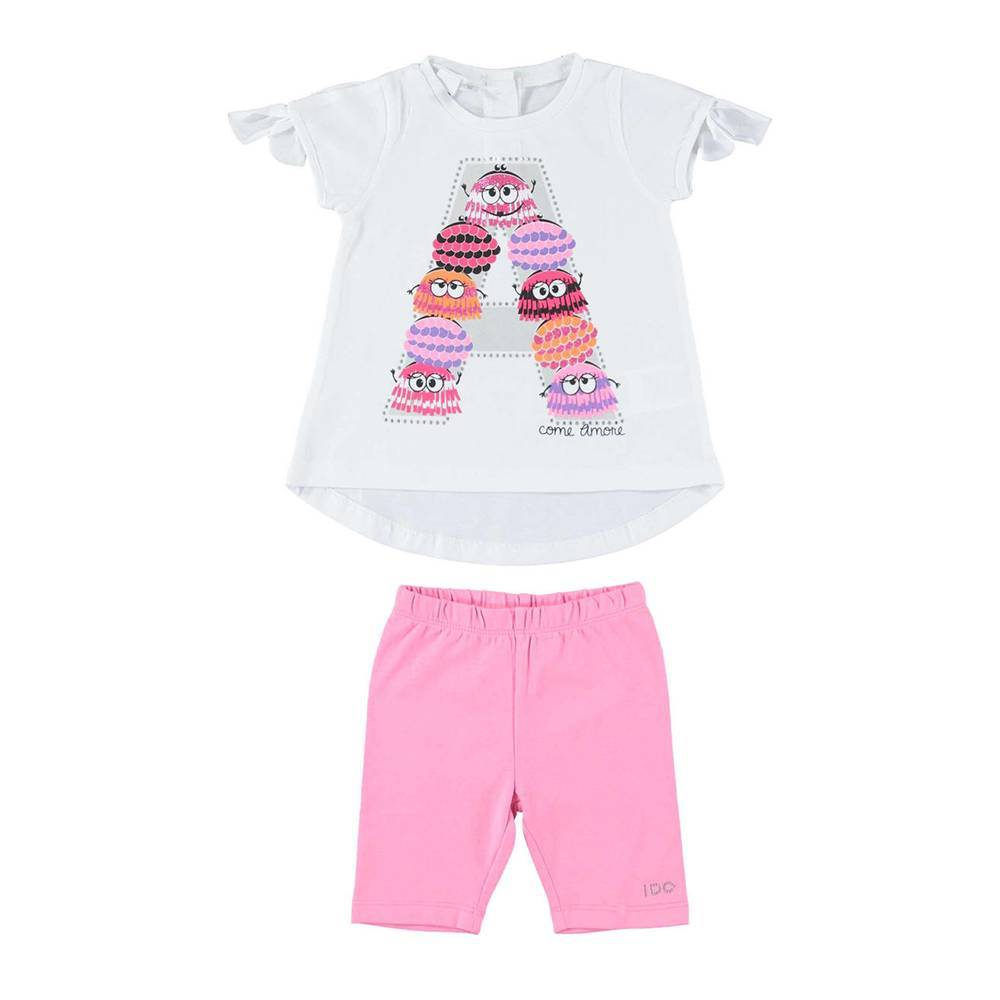 Комплект для девочки iDO летний хлопок трикотаж футболка шорты велосипедки 4.W797.00/8002
