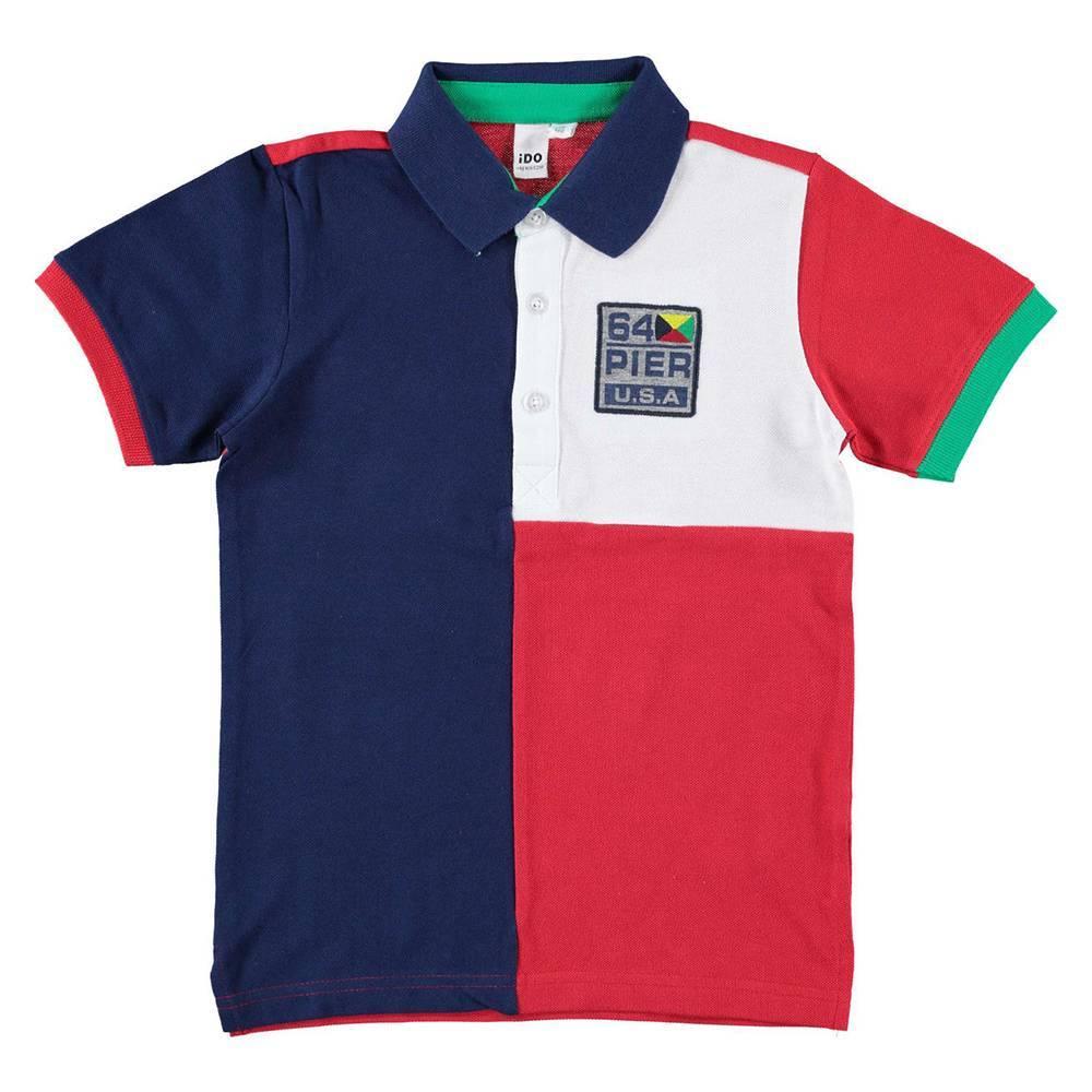 Поло футболка для мальчика iDO цветная хлопок трикотаж 4.W807.00/3547
