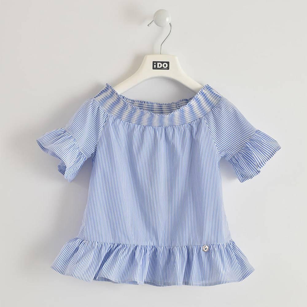 Блуза для девочки iDO поплин полосатый рукав 3/4 4.W860.00/3616
