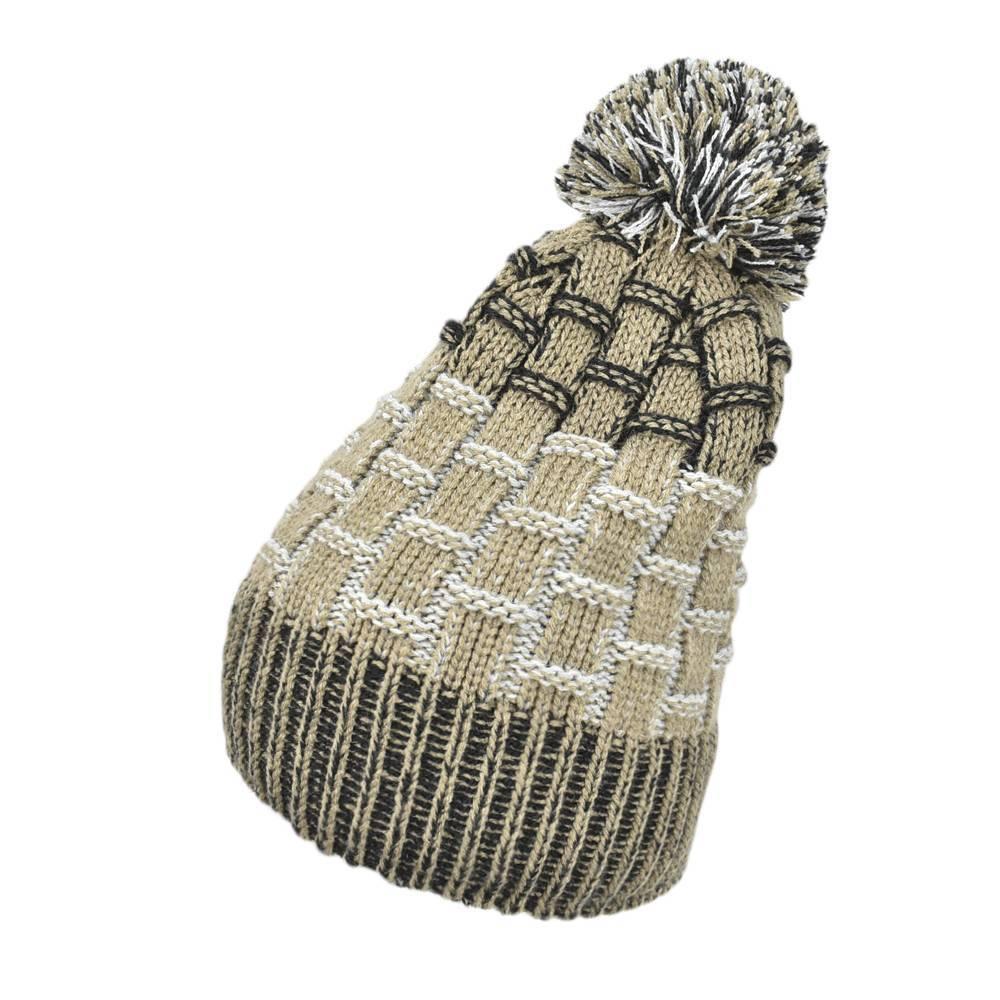 Шапка для мальчика LENNE зимняя вязанная подкладка флис с помпоном ALEX