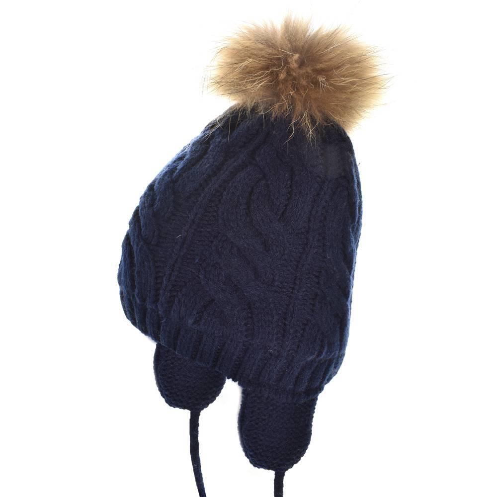 Шапка для девочки LENNE зимняя вязанная на завязках помпон натуральный мех JANNE