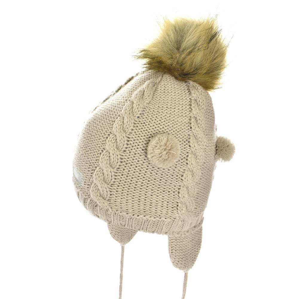 Шапка для девочки LENNE зимняя вязанная на завязках подкладка флис ZOJA