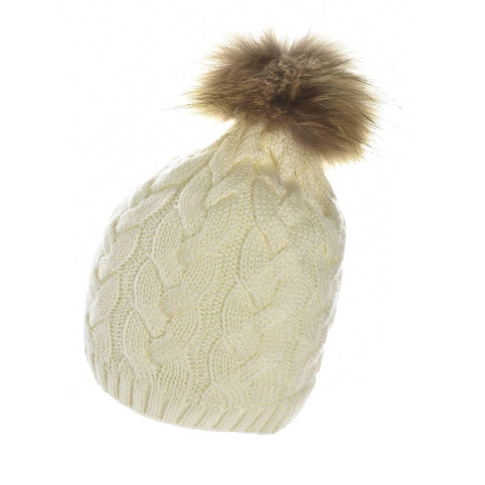 Шапка для девочки LENNE зимняя вязанная помпон натуральный мех NORA