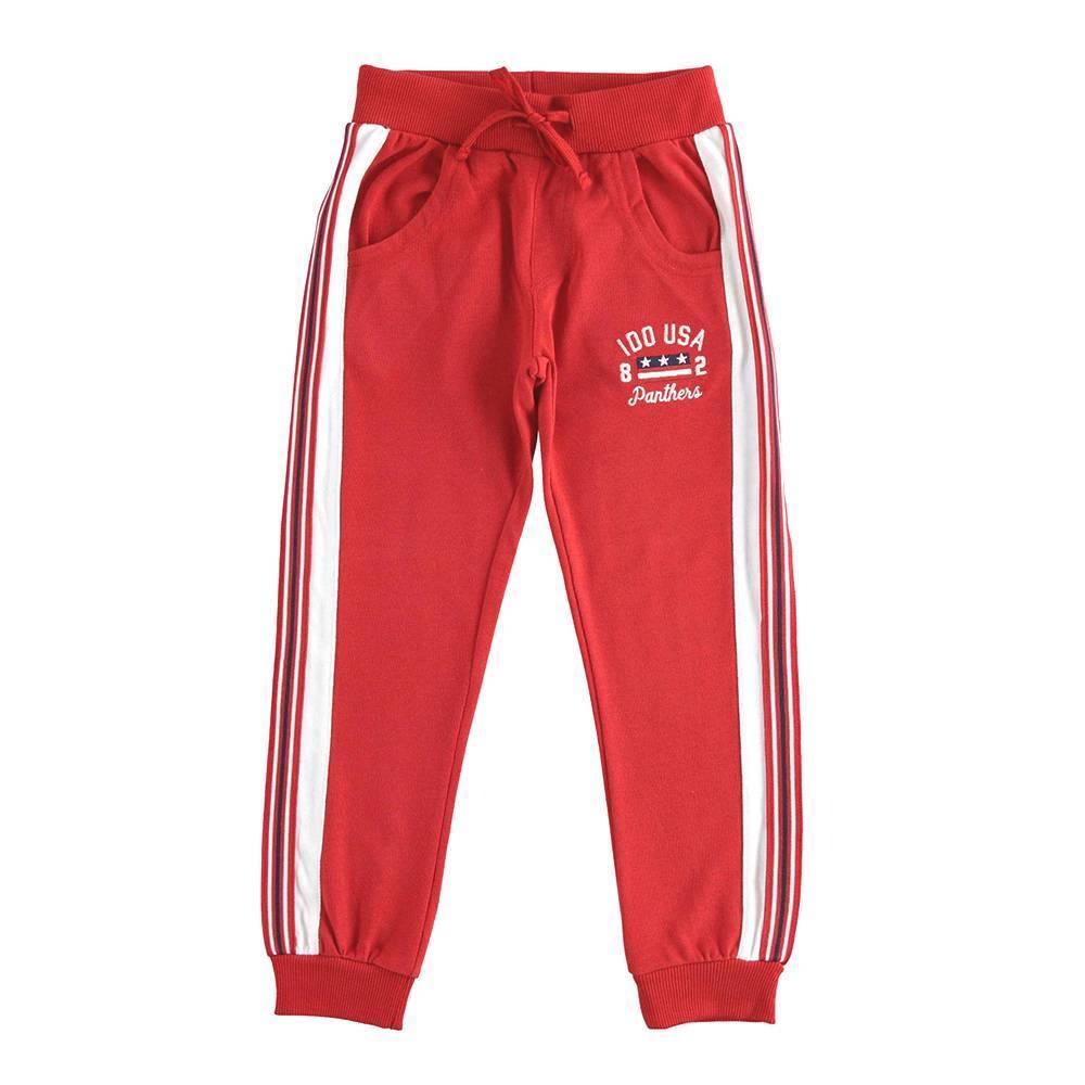 Спортивные штаны для мальчика iDO подросток трикотаж хлопок вышивка флис кулиска 4.K764.00/2253
