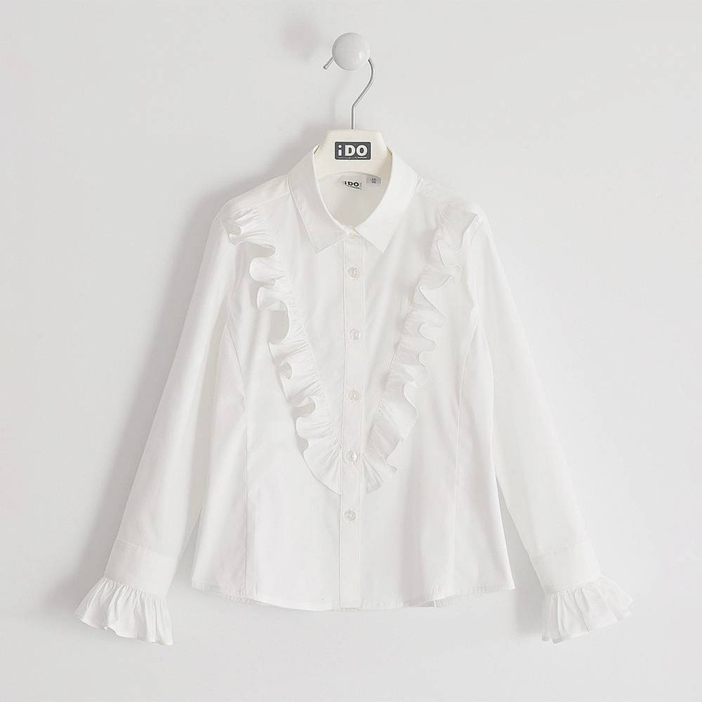 Блуза для девочки iDO подросток стрейч поплин рюш 4.K913.00/0113