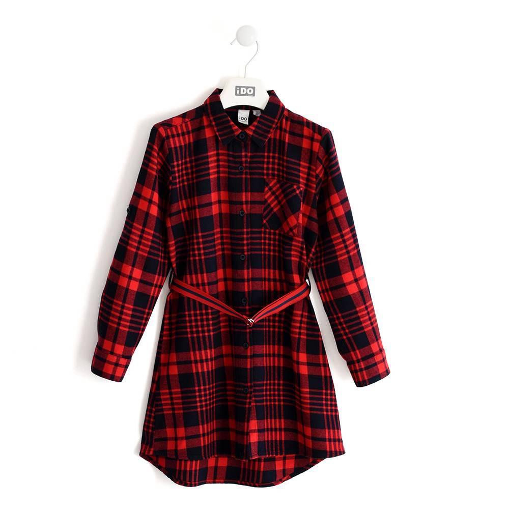 Платье для девочки IDO подросток длинный рукав клетчатое 4.K910.00/2253