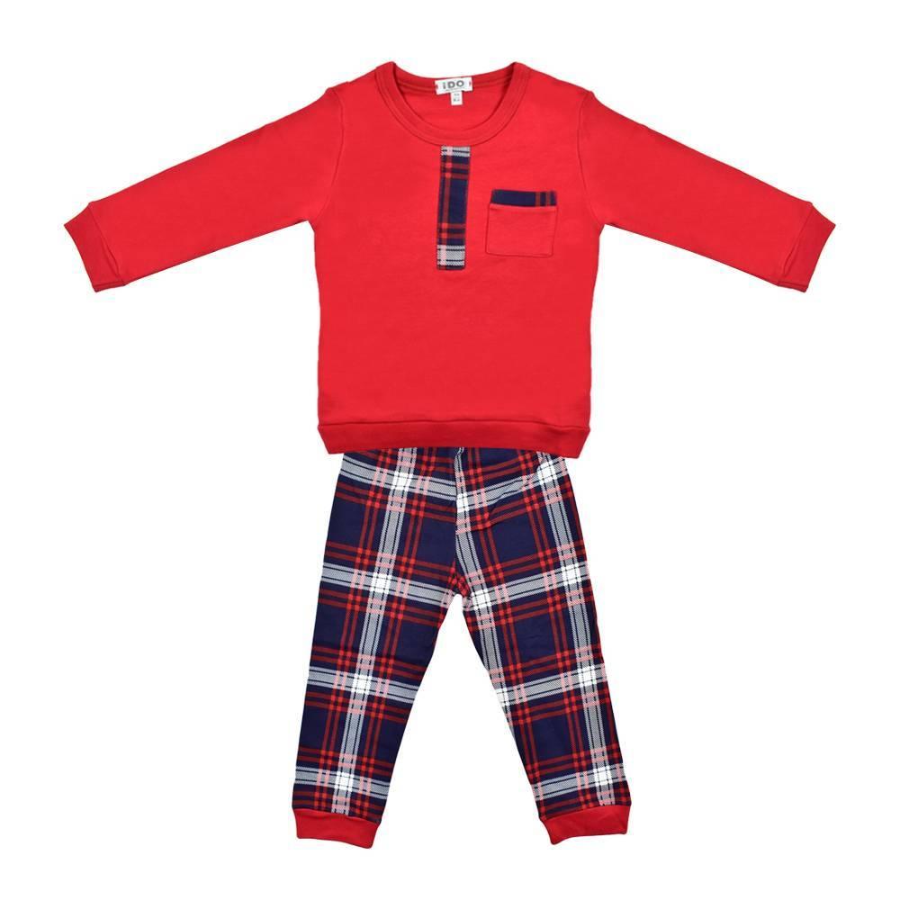 Пижама для мальчика iDO теплая хлопок трикотаж принт 4.K019.00/2043