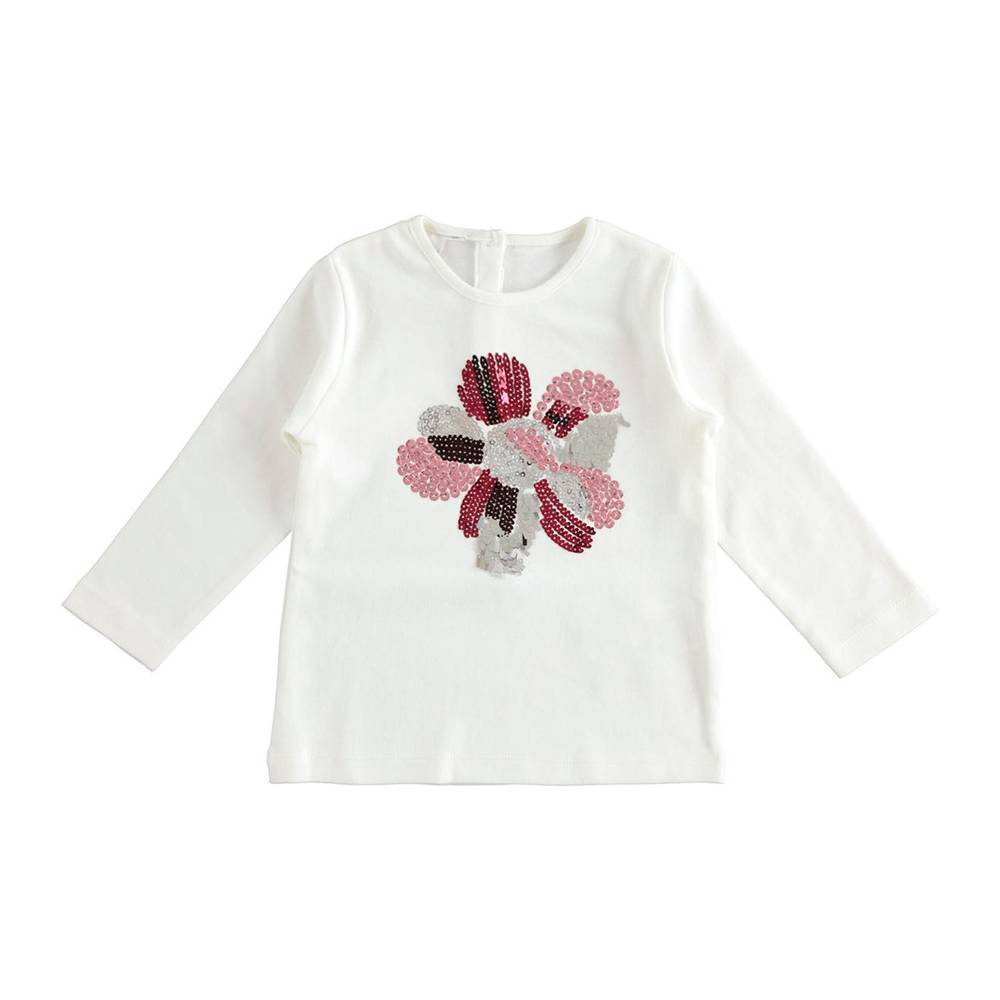 Реглан для девочки iDO хлопок трикотаж аппликация цветок блестки 4.K683.00/0112