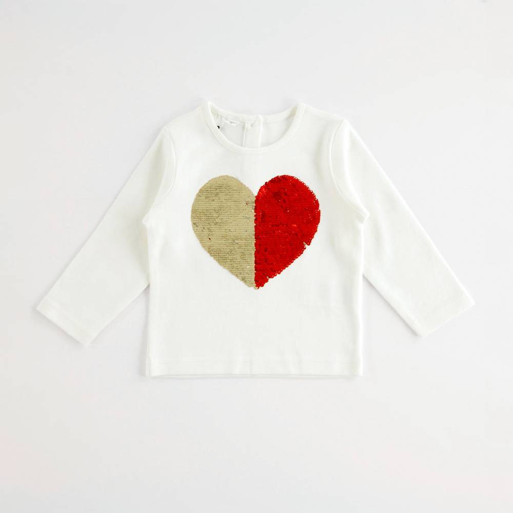 Реглан для девочки iDO сердечко из пайеток 4.K605.00/0112
