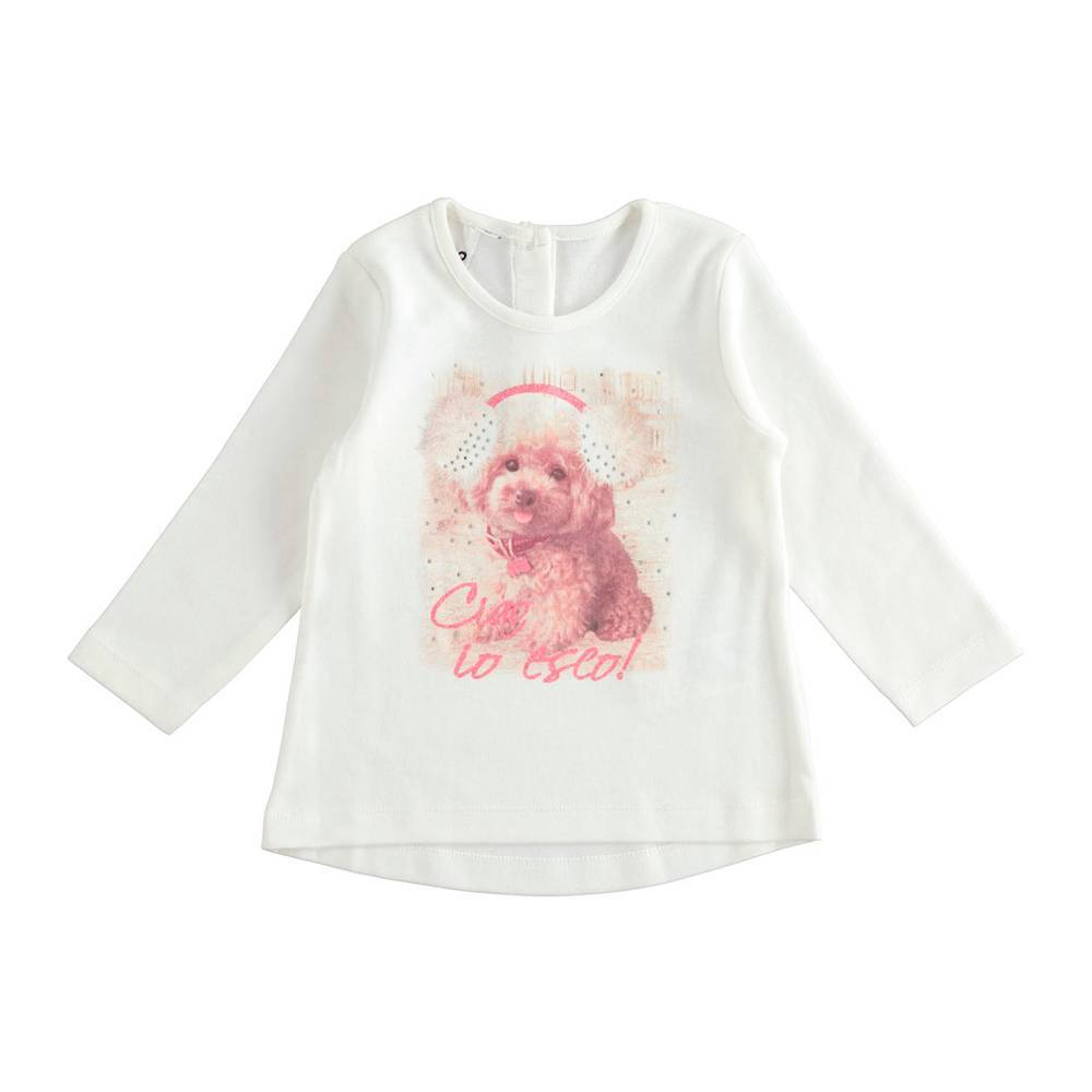 Реглан для девочки iDO трикотажный принт щенка 4.K617.00/0112