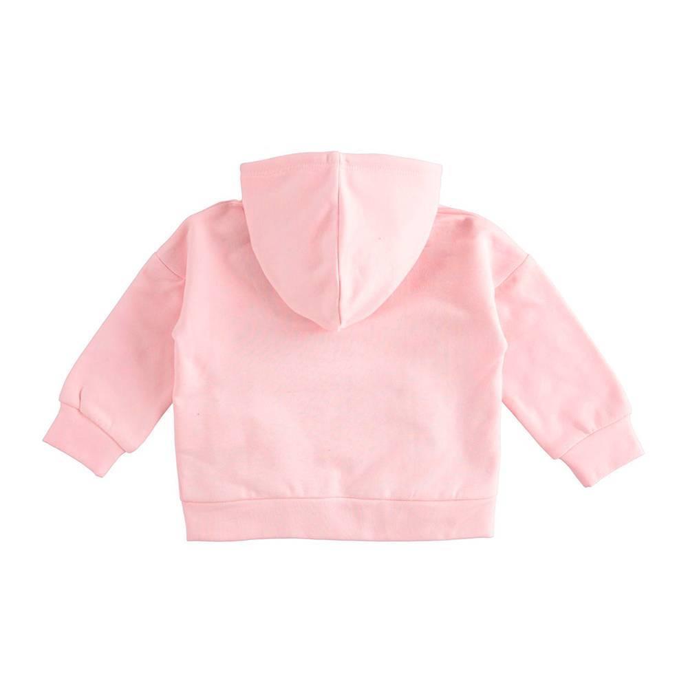 Толстовка для девочки iDO 4.K680 хлопковый флис, на молнии, с капюшоном, карман кенгуру с рюшем