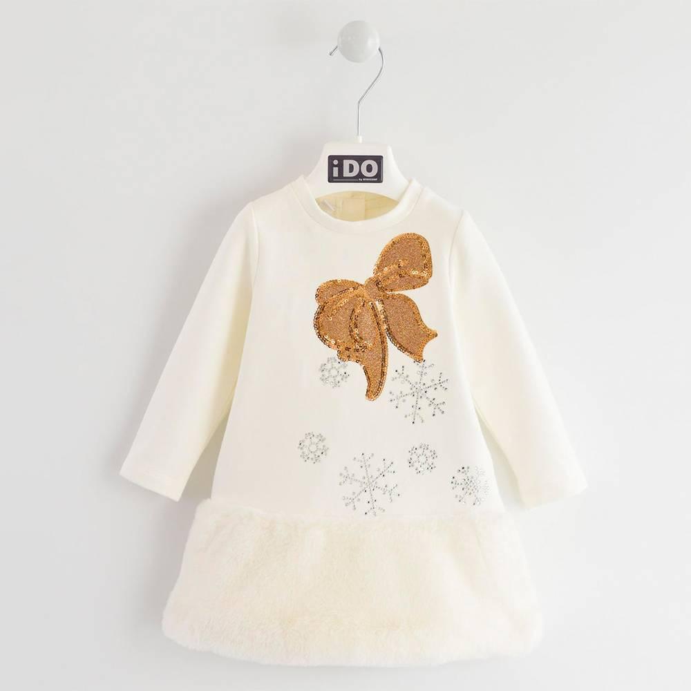 Платье для девочки iDO теплое нарядное флис длинный рукав стразы мех 4.K655.00 / 0112