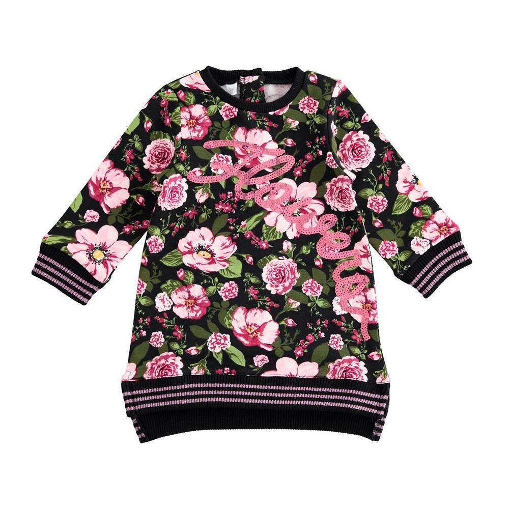 Платье для девочки iDO теплое флис длинный рукав цветочный принт4.K658.00/6LG9