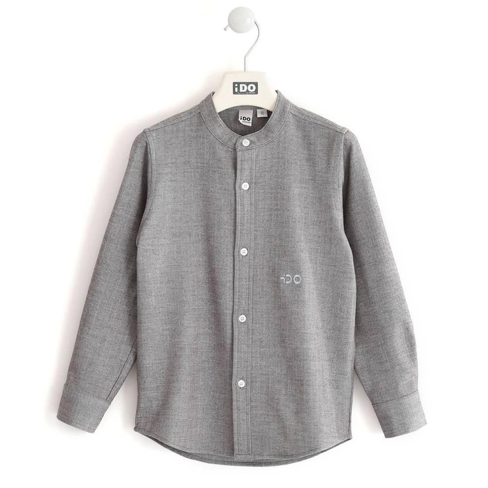 Рубашка для мальчика iDO подросток серый школьная без вороткика 4.K715.00/0516