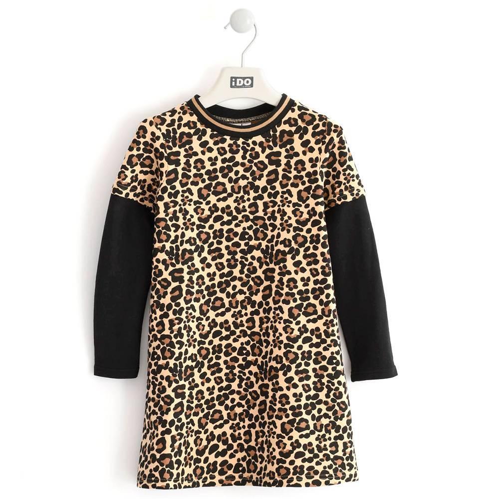 Платье для девочки iDO подросток трикотаж длинный рукав леопардовый принт 4.K969.00/6LH7