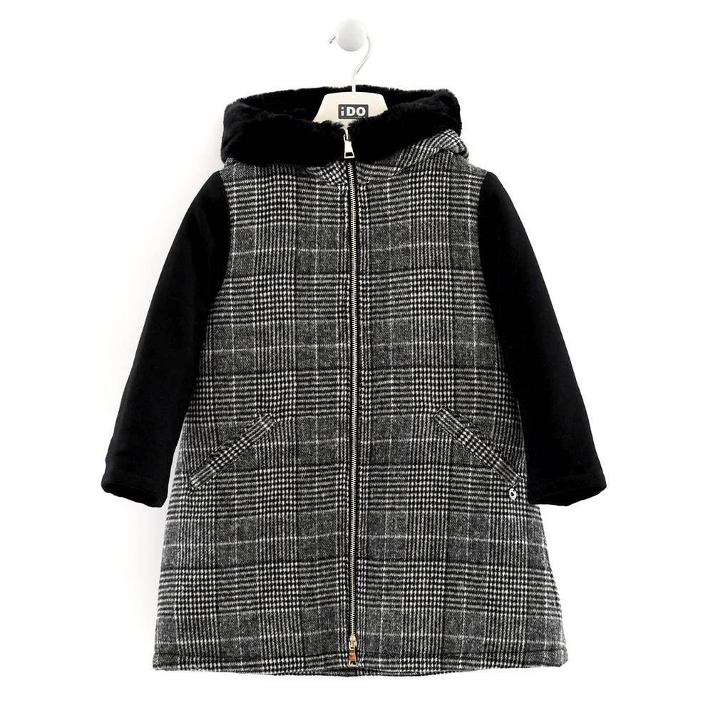 Пальто для девочки iDO подросток клетчатое с капюшоном 4.K987.00/0658