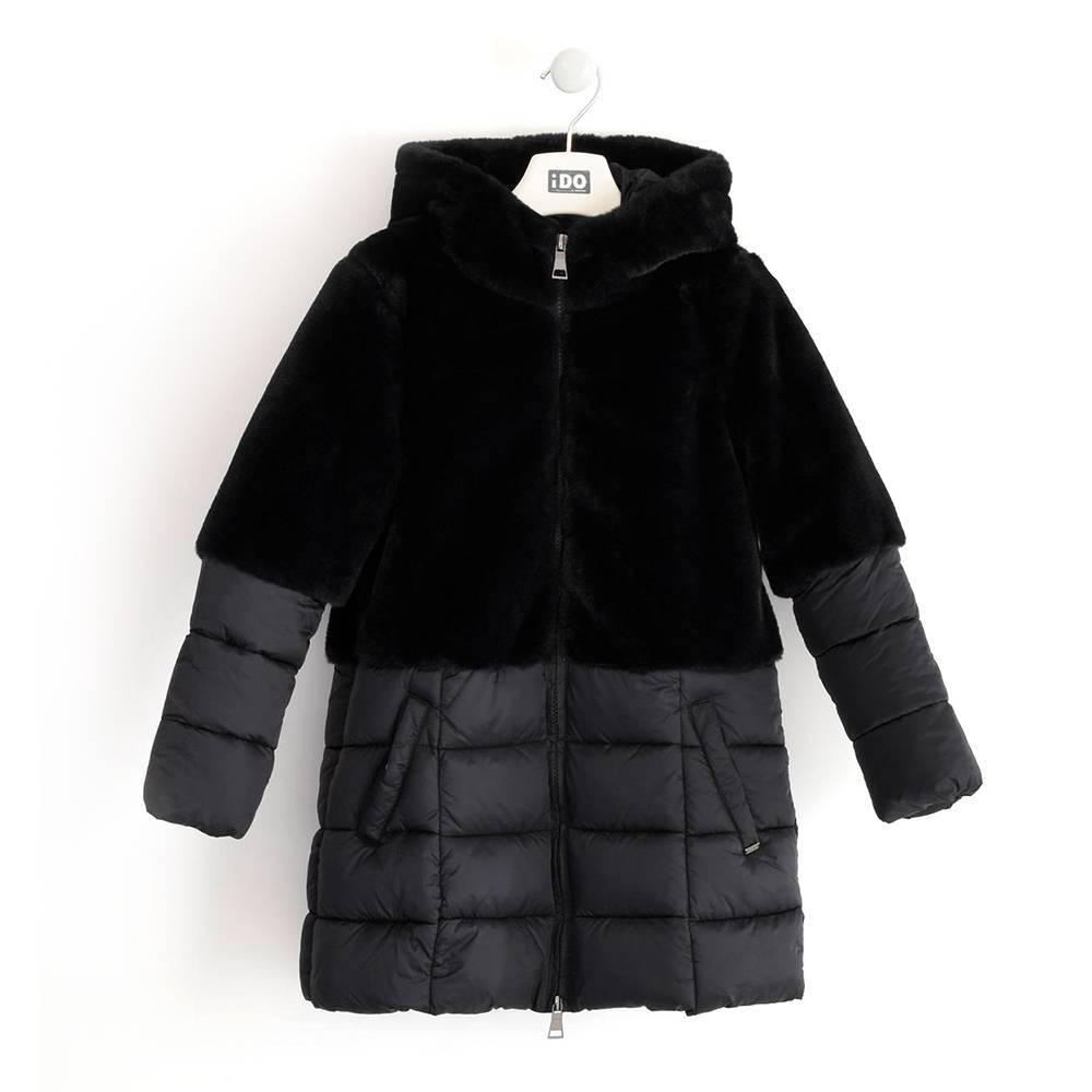 Пальто для девочки iDO подросток зимнее с капюшоном исскуственный мех iDO