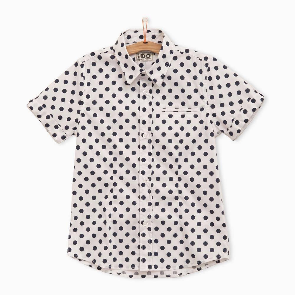Рубашка для мальчика iDO короткий рукав принт горохи 4.Q800.00/6H33