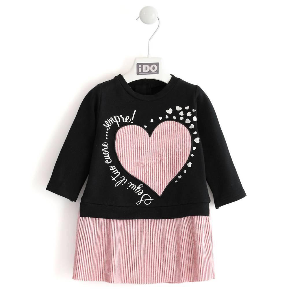 Платье для девочки iDO длинный рукав нарядное оборка велюр плиссе 4.K657.00 / 8177