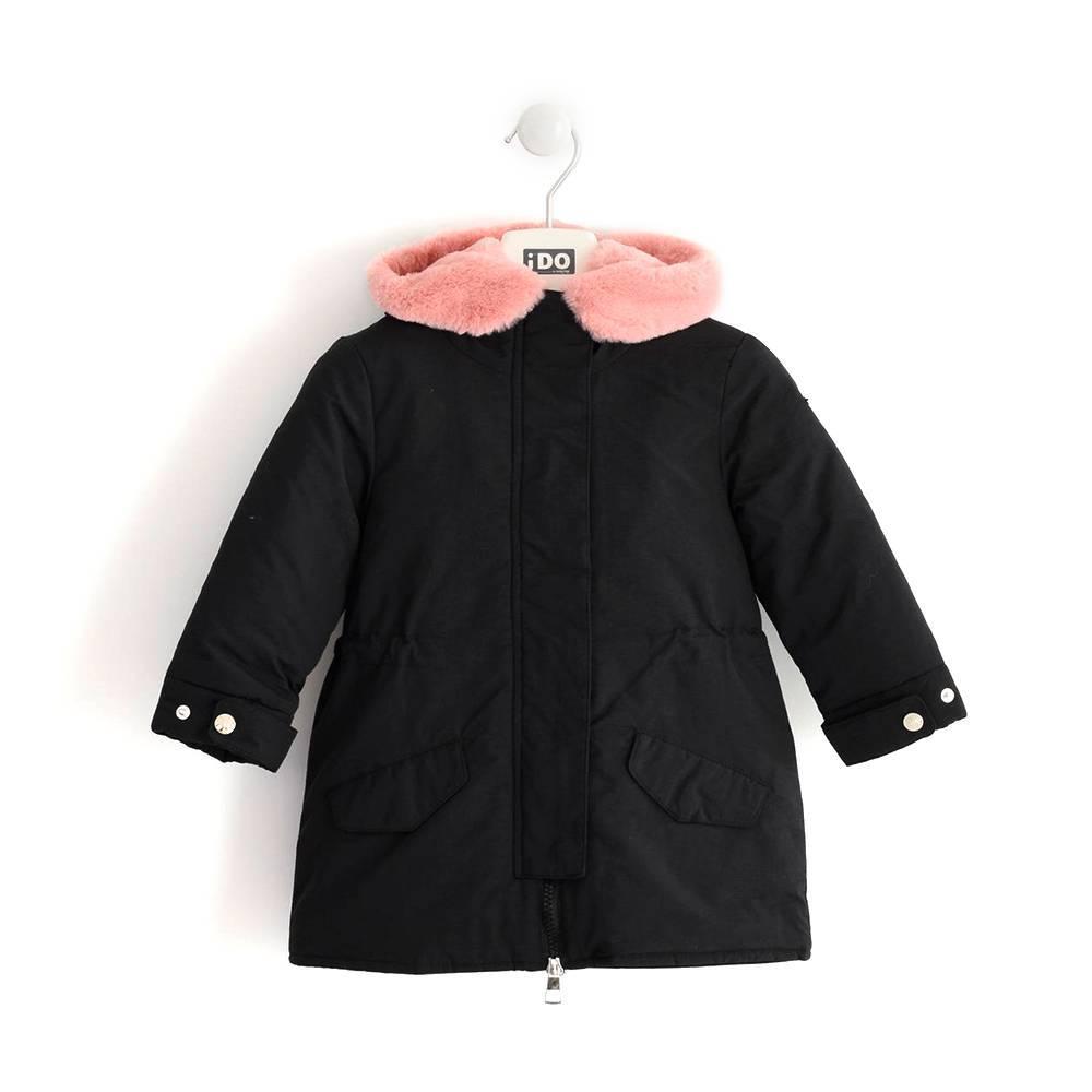 Пальто для девочки iDO 4.K697 зимнее черное из непромокаемой ткани с капюшоном