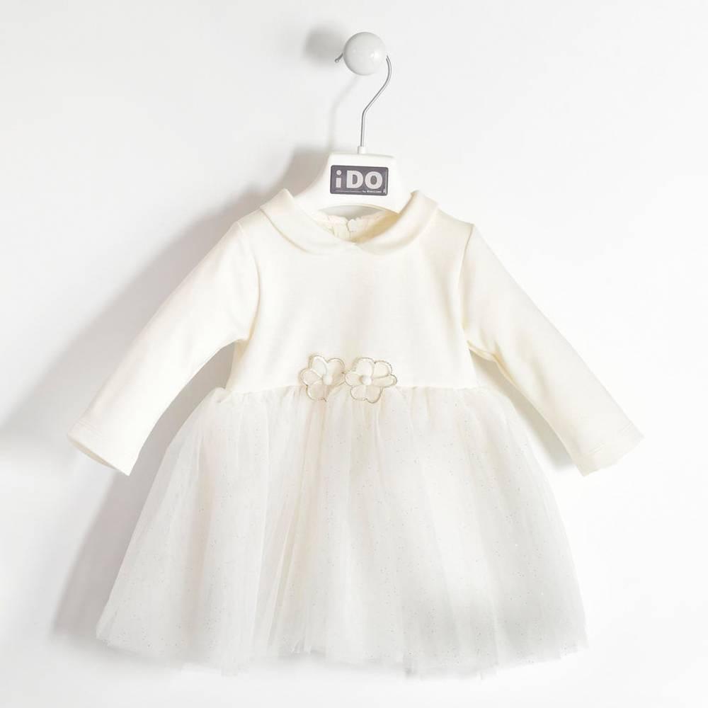Платье для девочки iDO длинный рукав нарядное белый 4.K415.00/0112