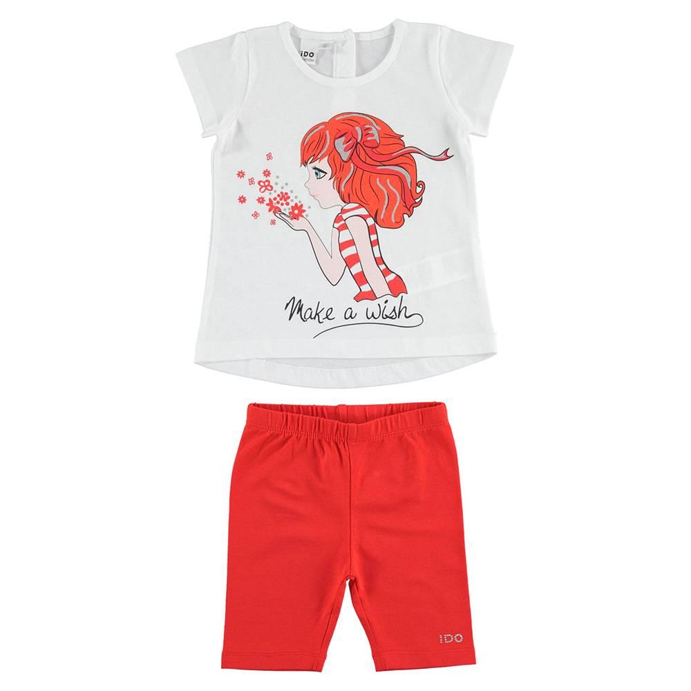 Комплект костюм для девочки iDO летний трикотаж хлопок футболка шорты 4.J008.00