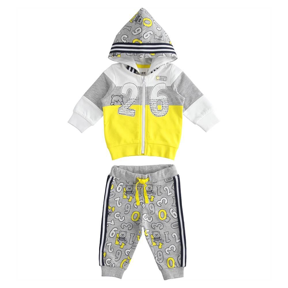 Комплект для мальчика iDO спортивный хлопок трикотаж тостовка с капюшоном штаны 4.J056.00/8046