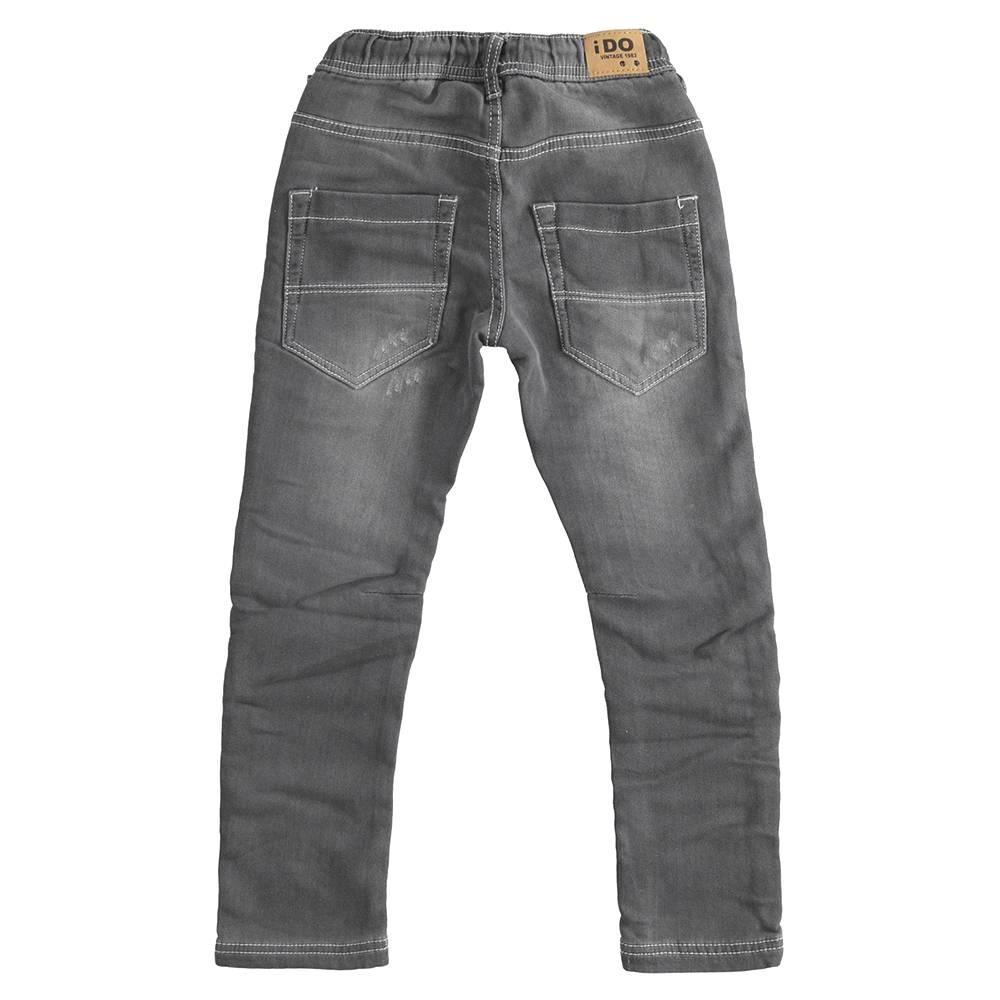 Джинсы для мальчика iDO подростка выбеленные с потертостями царапинами зауженные талия на резинке кулиска 4.J431.00/7992