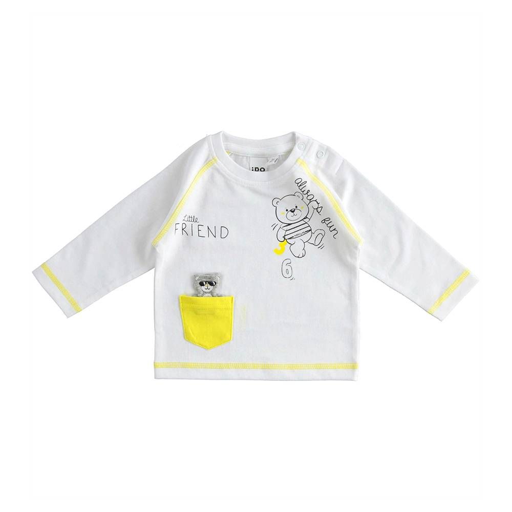 Реглан для мальчика iDO трикотажный хлопок плюшевый принтом с мишкой 4.J097.00/0113