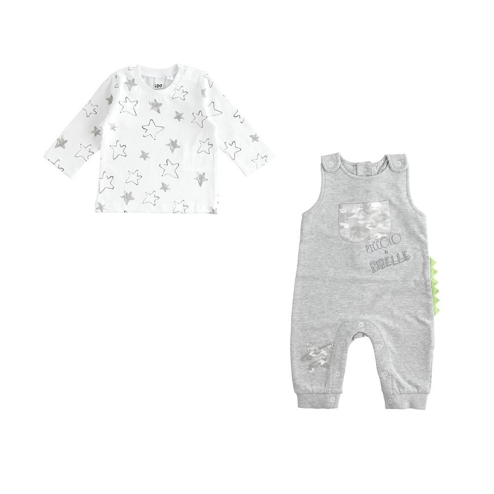 Комплект для мальчика iDO хлопок трикотаж комбинезон на шлейках реглан 4.J193.00/8992