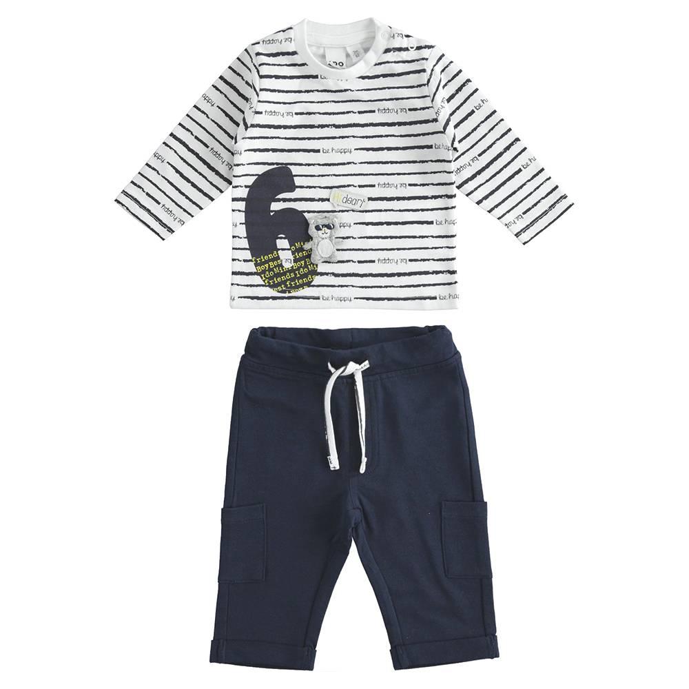Комплект для мальчика iDO хлопок трикотаж реглан с аппликацией штаны 4.J195.00/8020
