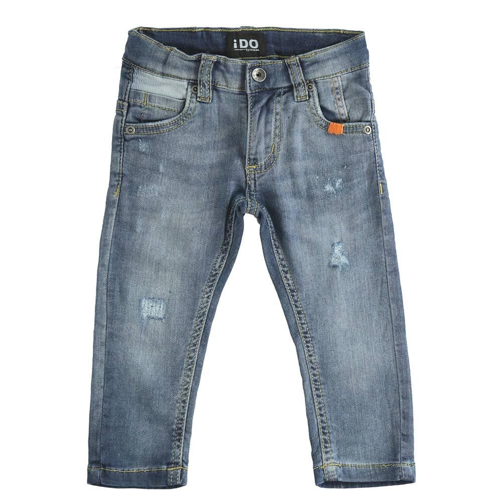 Джинсы для мальчика iDO выбеленные с потертостями царапинами зауженные талия на резинке 4.J244.00/7400