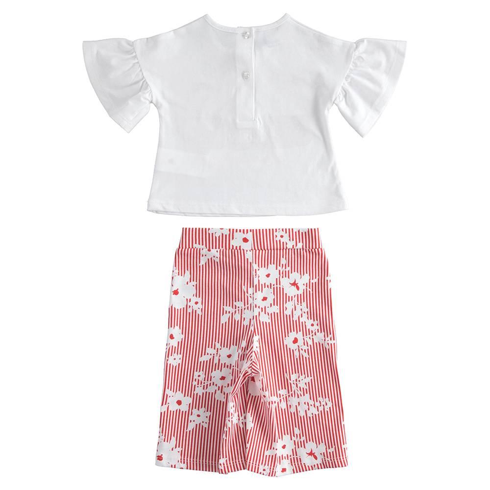 Комплект костюм для девочки iDO летний трикотаж хлопок футболка кюлоты 4.J274.00/8025