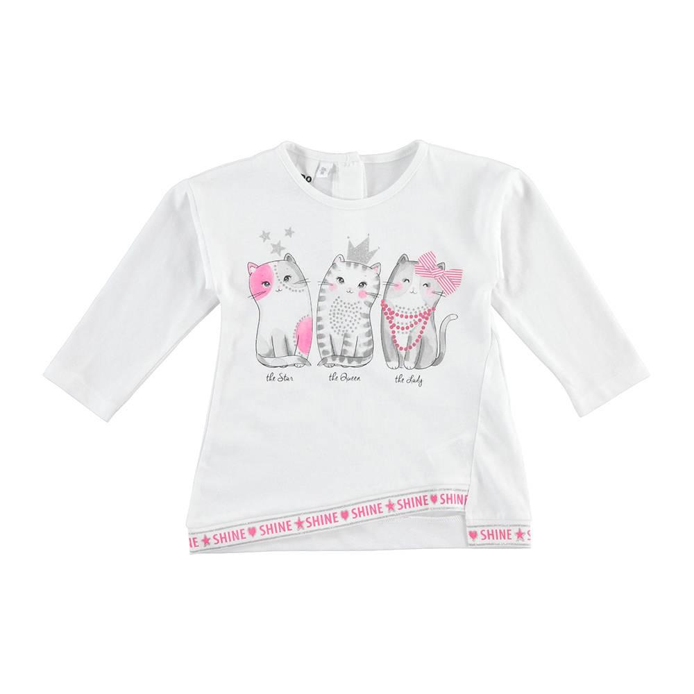 Реглан для девочки iDO хлопок трикотаж принт в виде котят 4.J319.00/0113