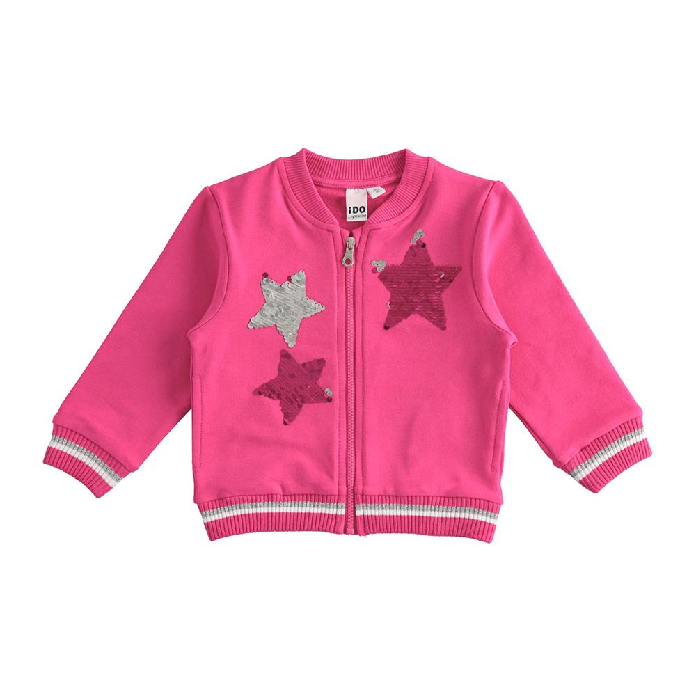 Бомбер для девочки iDO хлопок трикотаж звезды из блесток 4.J317.00/2445