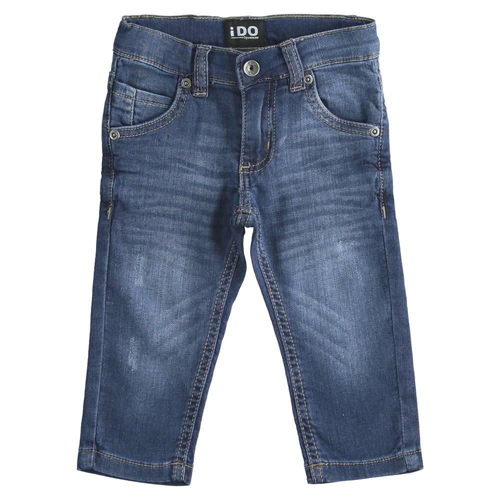 Джинсы для мальчика iDO выбеленные с потертостями царапинами зауженные регулируемая талия 4.J247.00/7450