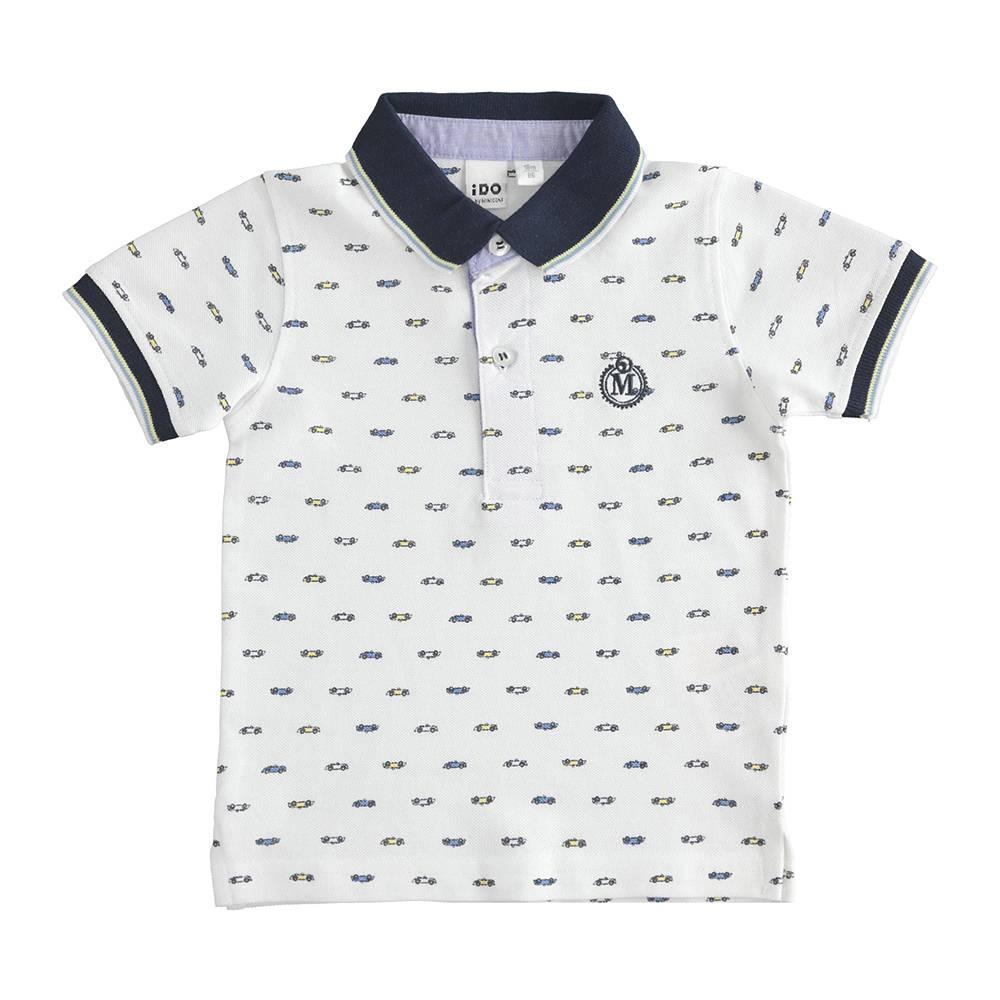 Поло футболка для мальчика iDO трикотаж хлопок принт игрушечных машинок 4.J232.00
