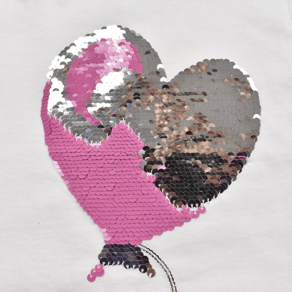 Реглан для девочки iDO хлопок трикотаж блестки в виде сердца 4.J360.00